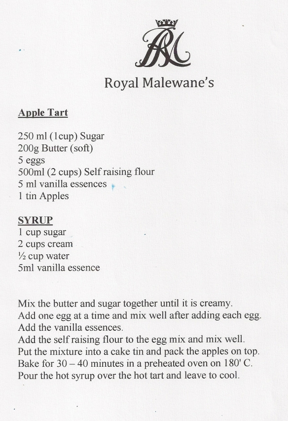 Royal Malewane's Apple Tart