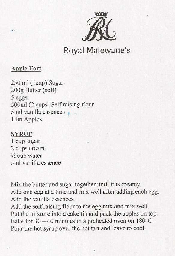 Royal Malewane's Apple Tart