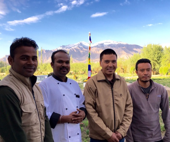 Our butler at Chamba Camp, Basu, the head chef at the camp, our expert Guide, Dhammo and our driver. Thank you for our ideal experience.