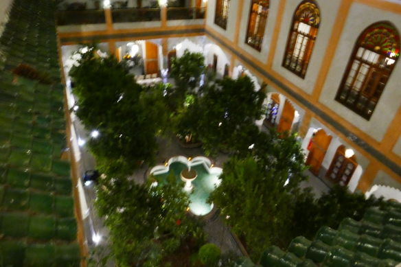 Interior Courtyard at charming Palais Amani in  Fes a Relais & Chateaux property.